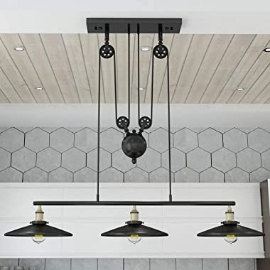 WINSOON Industrial Vintage Chandeliers Pulley 3 Light Pendant Lighting Fixture for Pool Table Farmhouse Kitchen Island Bar Re