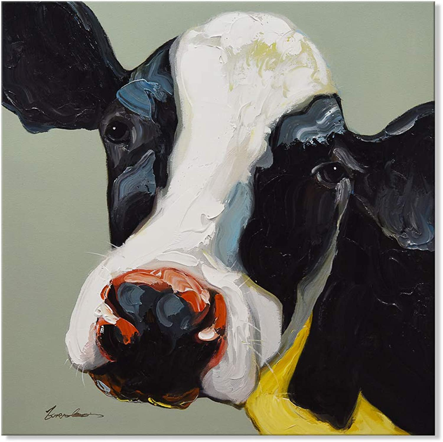 7CANVAS Cow Painting Stretched Canvas Art Animal Cattle Wall Picture Bull Wall Art Framed for Living Room Bedroom Kid Room Decor (Black Cow, 32x32 Inch)