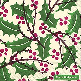 Emma Bridgewater lunch napkins Holly and Berry Winter Christmas - 33 cm square 20 in pack