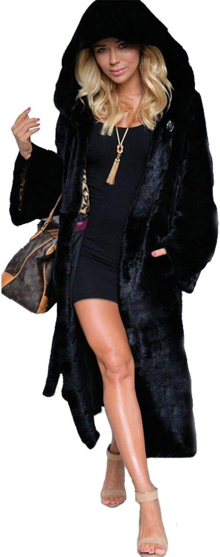 Dapigu Hooded Coat Womens Long Faux Fox Fur Jacket Elegant Warm Plus Size Coats