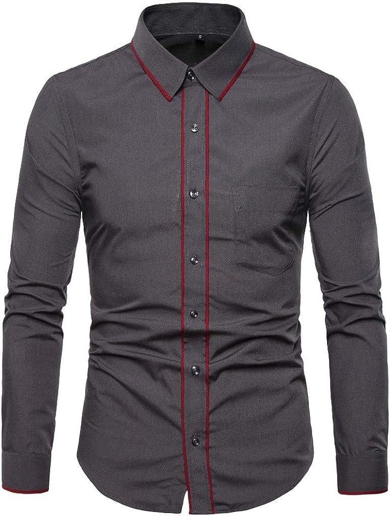 MODOQO Men's Button Down Shirts, Slim Fit Casual Solid Fashion Shirts