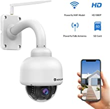 Dericam Outdoor PTZ WiFi Security Camera,1080P IP Surveillance CCTV Camera,Pan/Tilt/Zoom,4X Optical Zoom,Night Vision,Motion Detect,IP65 Weatherproof Pre-Instal 32G SD Card, White