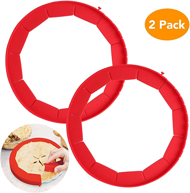 Lashary Adjustable Pie Crust Shield 100 Food Grade Silicone Pie Weights For Baking BPA Free FDA Approved Pie Ring Durable Reusable Pie Edge Protector 2 Pack Of Pie Protector Shield Red