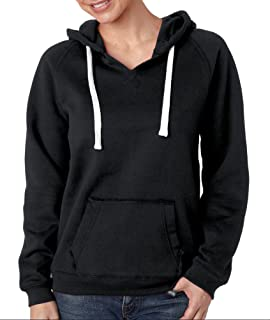 J-America Women's Brushed V-Neck Hooded Fleece