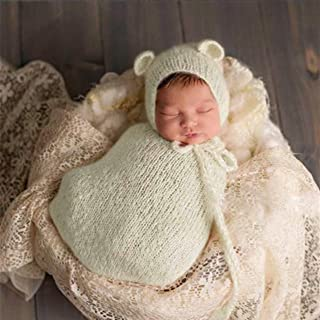 micia luxury(ミシアラグジュアリー) ニューボーンフォト 衣装 ねずみ マウス コスプレ 帽子&コクーン 寝袋セット モヘア 全10色 アイボリー