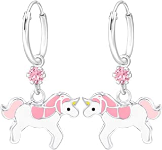 Pink Unicorn Hoop Earrings with Crystals from Swarovski Girls Childrens Sterling Silver (E32898)