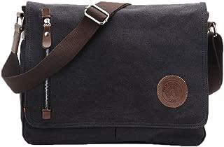Egoelife LB-BBPHF18 Unisex Casual High Quality Canvas Satchel Messenger Bag for Traveling Camping - Black