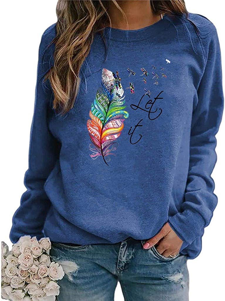 Sweatshirts for Women, Plus Size for Women Tunic Cute Print Tops Crewneck Long Sleeve T-Shirt Trendy Shirt Blouses