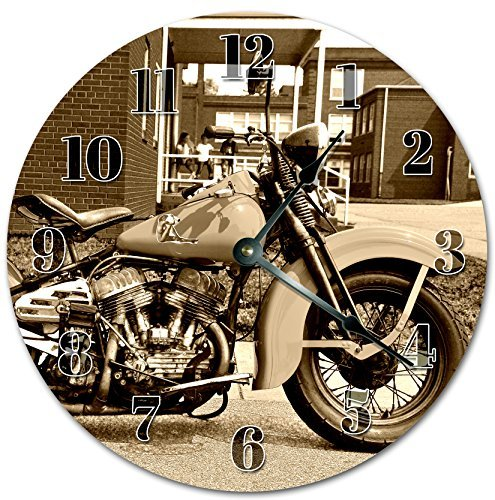 Harley Davidson, orologio da parete in legno, silenzioso, moderno, per soggiorno, camera da letto, cameretta dei bambini, 30,5 x 30,5 cm