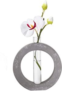Frank Lloyd Wright Design Inspired Polished Concrete Organic Element Basic Shape Glass Vase Tube Flower Bud Vase Home Decorative Accent Wedding Centerpiece Hotel Office Home Decor (Large Circle)