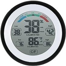 Cikuso Pantalla LCD digital Termometro interior Higrometro Redonda Temperatura electronica inalambrica Medidor de humedad Estacion meteorologica Tester negro