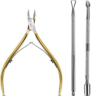 Cuticle Nippers, Cuticle Pusher & Cuticle Peeler, Teenitor Manicure and Pedicure Cuticle Tools with Cuticle Cutter Stainless Steel, Cuticle Pusher and Spoon Nail Cleaner Gel Nail Polish Nail Art Remov