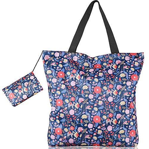 Lovexiu Strandtas, waterdicht, grote grootte, 17 l, boodschappentas, ritssluiting, herbruikbaar, handtas voor vrouwen, bloemenpatroon, blauw