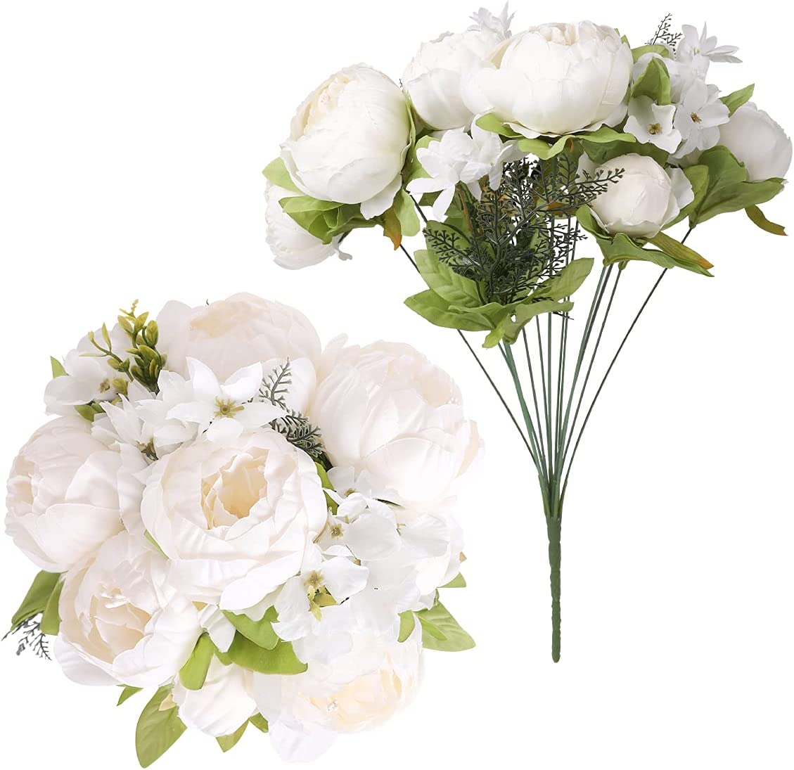 Floweroyal 2pcs Artificial Peony Vintage Flowers Bridal Silk Cheap Bou Recommended