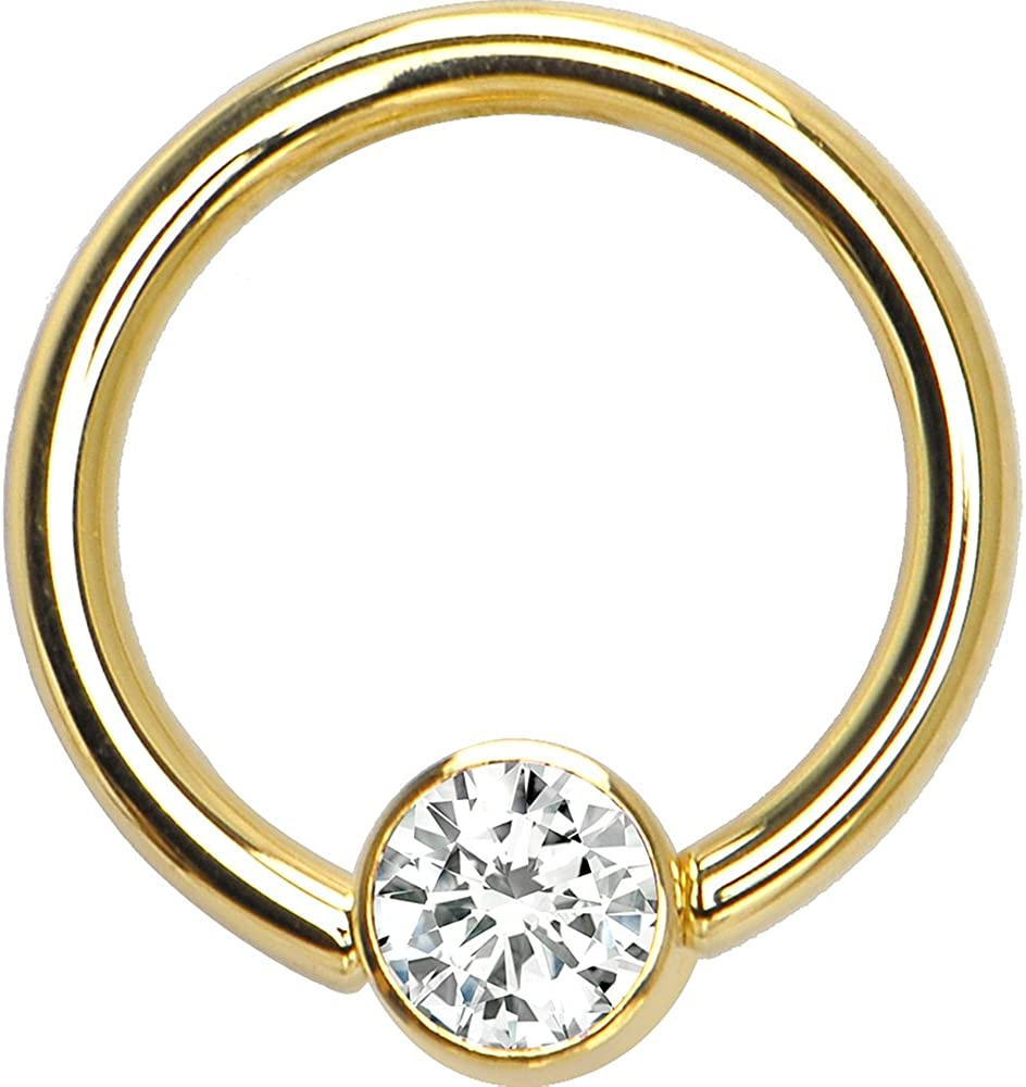 2021 model Body New product type Candy Solid 14k Yellow Gold 4mm Zirco Bezel Cubic Clear Set