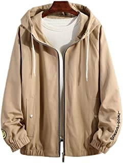 Men's Jacket, Loose Hooded Windproof Casual Coat Zipper Printed Soft Shell Bomber Jacket Outdoor Sports Warm Outwear (Color : Khaki, Size : XL)