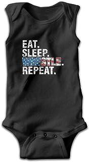 lovely baby-Z Eat Sleep Wrestle Repeat Wrestling Funny Baby Bodys ärmellos Strampler Overall Schwarz