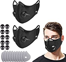 2 Mesh Respirator with filter, 10 filters and 10 valves, replaceable filter and washable Respirator, suitable for running,...