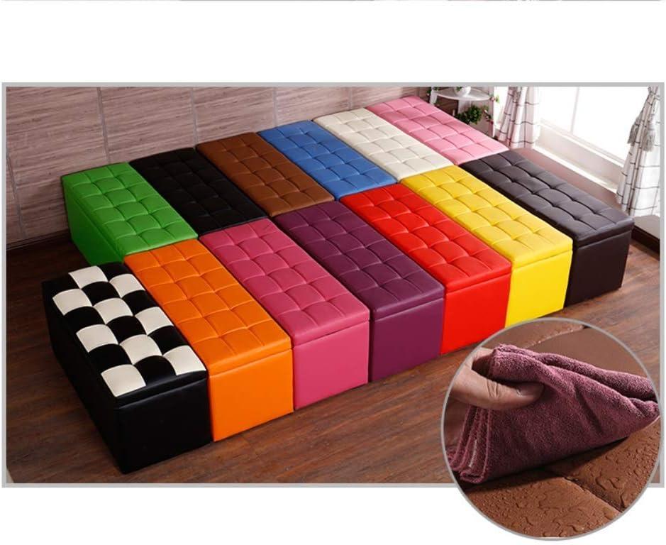 YXDEW Changer Les vêtements Chaussures Tabouret Magasin Tabouret en Cuir Type de Stockage Stockage Tabouret 60 * 40 * 40cm Chaise (Color : Black) Green