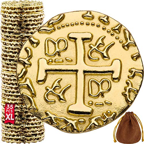 Metal Pirate Coins - 35 X Large Gold Treasure Coin Set, Metal Replica Spanish Doubloons for Board Games, Tokens, Toys, Cosplay - Realistic Money Imitation, Pirate Treasure Chest - Diameter: 1.18'
