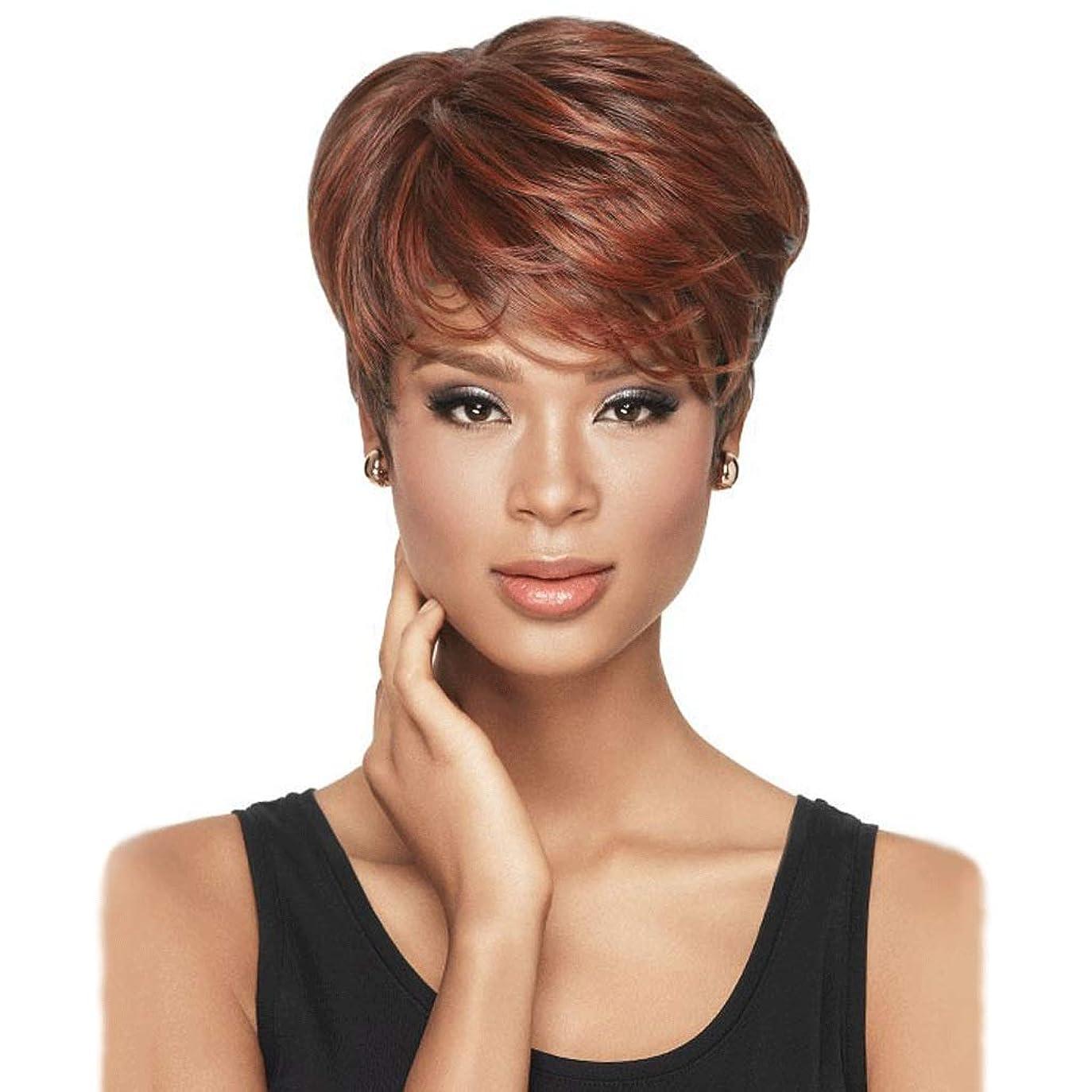 スーツアレルギー性に対応する黒人女性のための短い赤の人工毛かつら、耐熱ファイバーの髪、女性ハロウィンコスプレ衣装ファンシードレスパーティーのため (Color : Red)