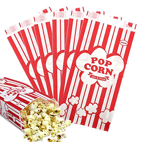 1 oz Popcorn Bags 100pcs Red and White Stripes Paper Bags