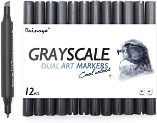 Dainayw Grayscale Alcohol Art Marker Pens, Permanent Dual Tips Cool Grey Markers for Drawing, Shading, Outlining, Illustrating and Rendering,Colorless Blender, 12 Pack