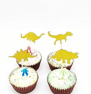 Paity 48Pieces Dinosaur Cupcake Toppers Picks for Kids Birthday Party Decoration Supplies Dinosaur Theme Cake Decoration f...