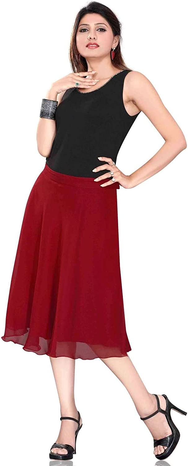 Indian Selections Pleated ALine Womens Skirt, Maroon