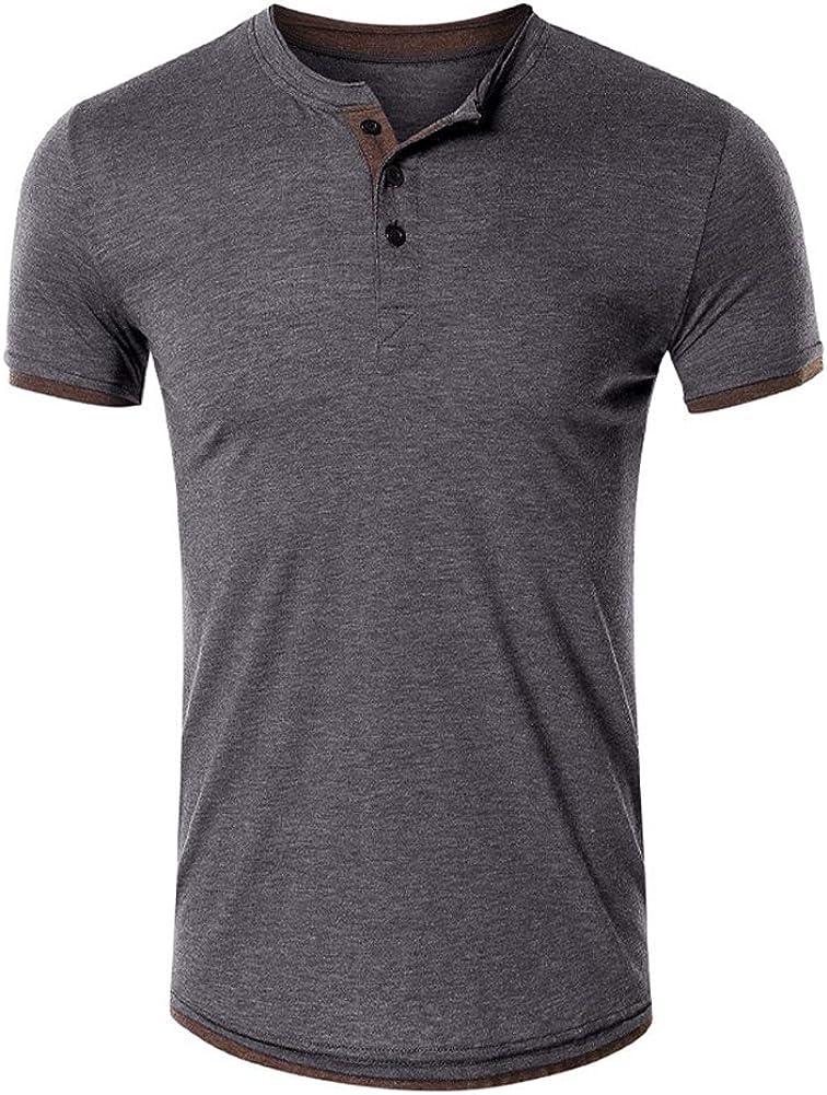 chouyaotu Men's Fashoin Casual Slim-Fit Short Sleeve Cotto Henley Shirts
