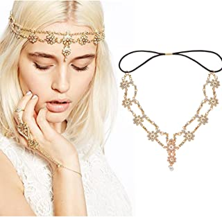 Simsly Head Chains Jewelry with Pendant Gold Headpiece for Women and Girls FV-060