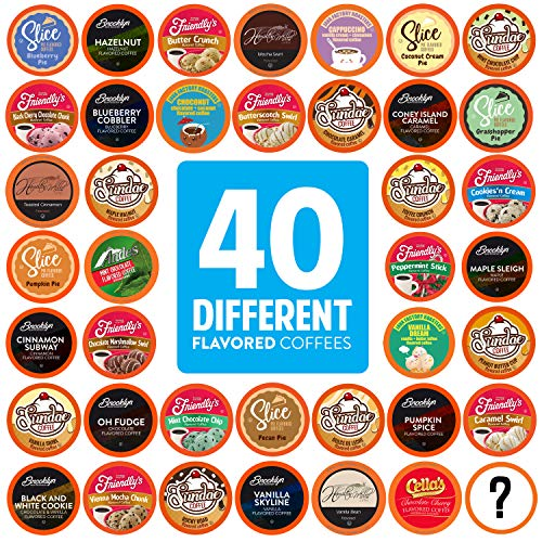 Two Rivers Coffee Flavored Coffee Pods Compatible with Keurig K Cup Brewers, Assorted Flavored Coffee, 40 Count