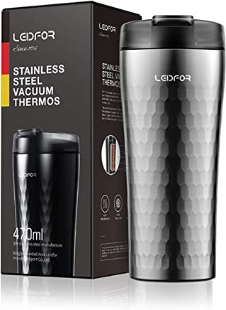 d4aca425a2b Leidfor Stainless Steel Vacuum Insulated Coffee Travel Mug Tumbler Thermos  Cup With Leakproof Lid 16-