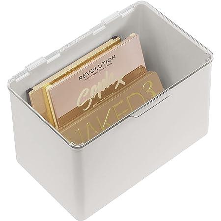 mDesign boite de rangement avec couvercle pour la cuisine, le garde-manger ou le bureau – bac en plastique sans BPA – boite empilable compacte pour les articles de maison – gris clair/transparent