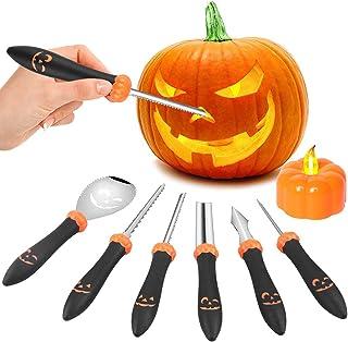 Halloween pompoensnijset, 6 stuks pompoen snijset, roestvrij staal, snijgereedschap pompoen voor kinderen, Halloween decor...