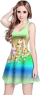 Womens Unicorn Alice Wonderland Rabbit Princess Aladdin Drawfs Mermaid Sleeveless Dress, XS-5XL