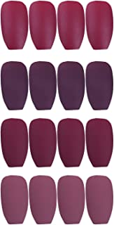 Laza 96 Pcs Colorful Fake Nails 4 Pack Coffin Ballet Purplish Red Madder Prune Mulberry Full Cover Medium Matte Artificial Acrylic Nails - Carmine Rose