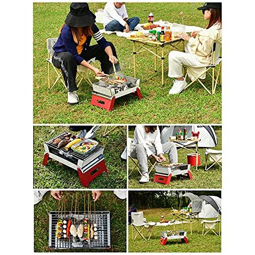 Tablecloth Parrilla plegable de acero inoxidable portátil plegable de carbón de leña para picnic, jardín, terraza, camping, viajes