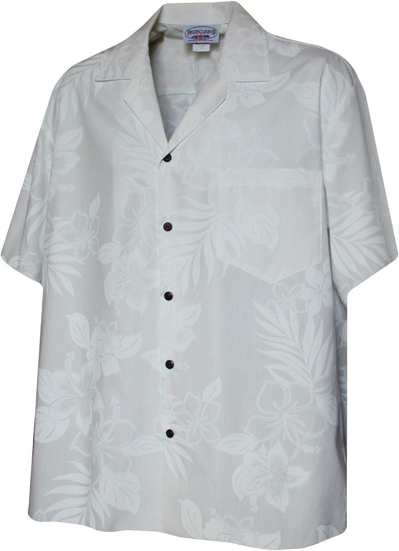 Pacific Legend Mens White Wedding Tropical Floral Hawaiian Shirt