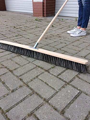 laguz Straßenbesen 100cm breit Besen Saalbesen Kehrbesen mit Buchestiel 150cm