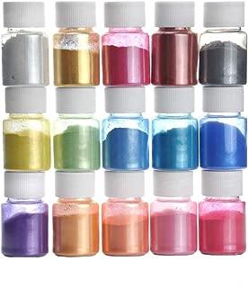 Pigmentos en Polvo,15 Colores Natural Mica Tintes para teñir Resina Epoxi, Jabones, Slime, Cera, Pintura, Vela, Uñas, Cosmético y Arte de Bricolaje - Metalizados Colorante (15 Colores)