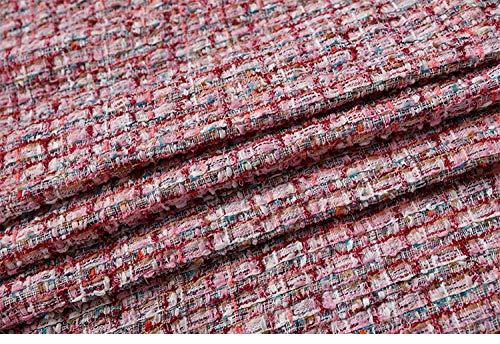 Meterware als Dekostoff- Herbst Und Winter Rosa Mode Stoff Mantel Trenchcoat Wolle Tweed Stoff, Pink...