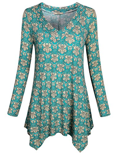 Miusey Print Tunics for Women, Ladies Long Sleeve Blouse Floral Pattern Business Office Attire Contemporary Clothing Spandex Designer Bohemian Graphic Preppy Tee Shirt Pullover Top Green L
