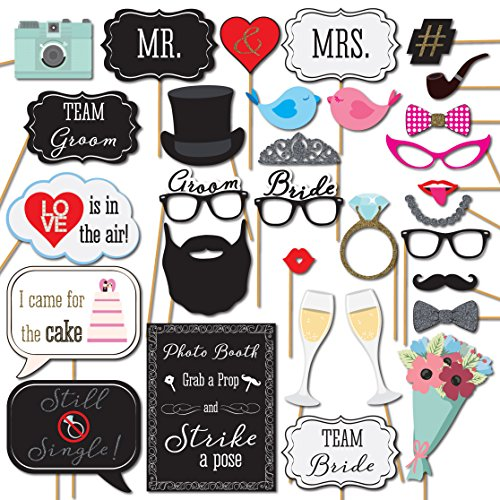 Wedding Photo Booth Props 31 Printed Pieces Wooden Sticks Strike a Pose Sign Sunrise Party Supplies