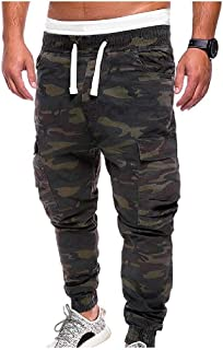 RkYAO Men Casual Camouflage Mordern-Fit Drawstring Waist Sports Cargo Pants