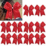 CEELGON Red Glitter Cheer Bow Bulk Large Hair Bows Breast Cancer 8inch for...