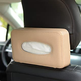 HerMia Luxury Black Leather Car Back Seat Headrest Hanging Tissue Holder Case Mount, Multi-use Car Tissue Paper Holder with One Tissue Refill for Car & Truck Decoration