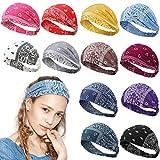 12 Pieces Elastic Paisley Headbands Boho Bandana Headbands Wide and Stretchy Bandana Head Wrap Vintage Hair Band Cute Hair Accessories for Women Girls Favors