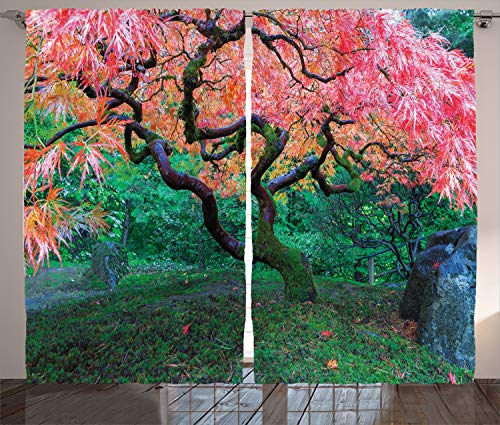 """Ambesonne Japanese Curtains, Aged Red Leaf Maple Moss Garden Sceneryin Autumn Grass Relaxation in Nature, Living Room Bedroom Window Drapes 2 Panel Set, 108"""" X 84"""", Green"""