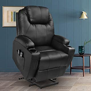 MAGIC UNION Power Lift Massage Recliner Faux leather Heated Vibration with Remote Controls Wheels for Elderly Catnap Sofa- Black
